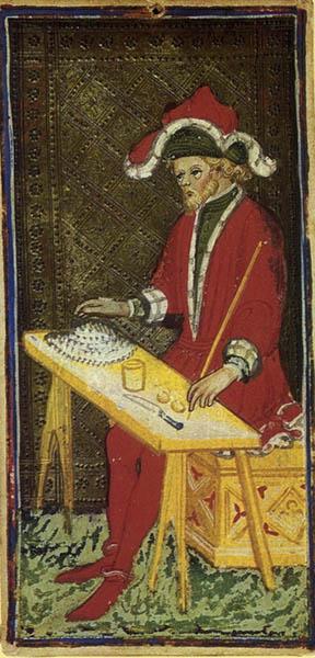 The Juggler (Bagatto) from the Piermont Morgan Visconti-Sforza Tarot