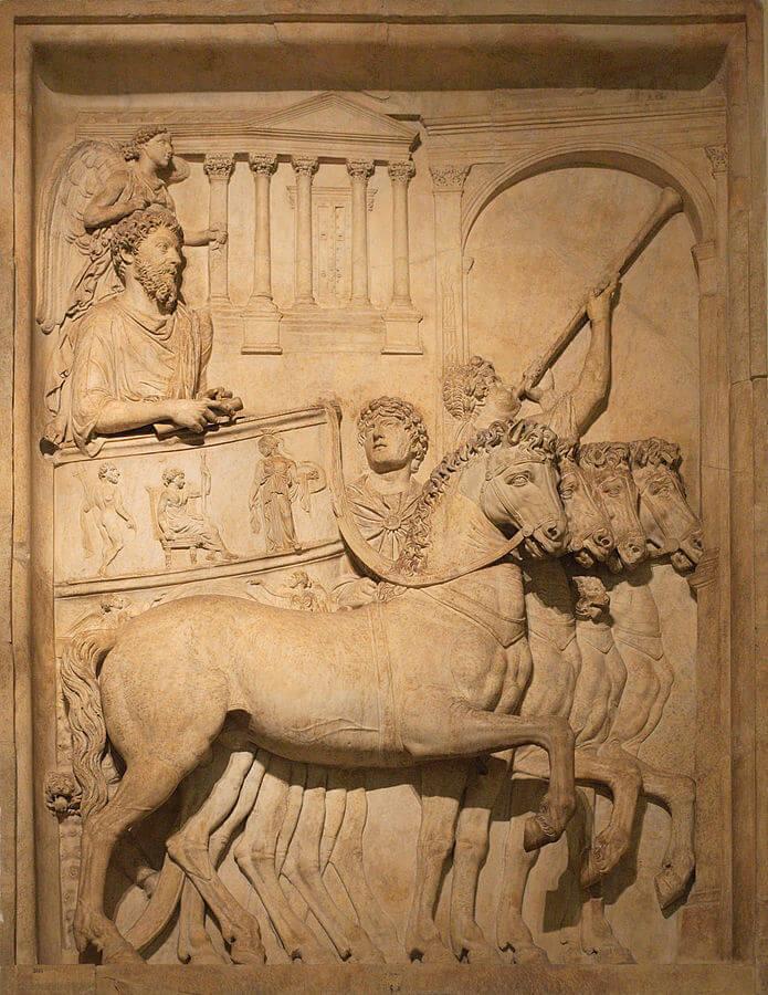 xample of Roman triumph art. Bas relief from Arch of Marcus Aurelius triumph.